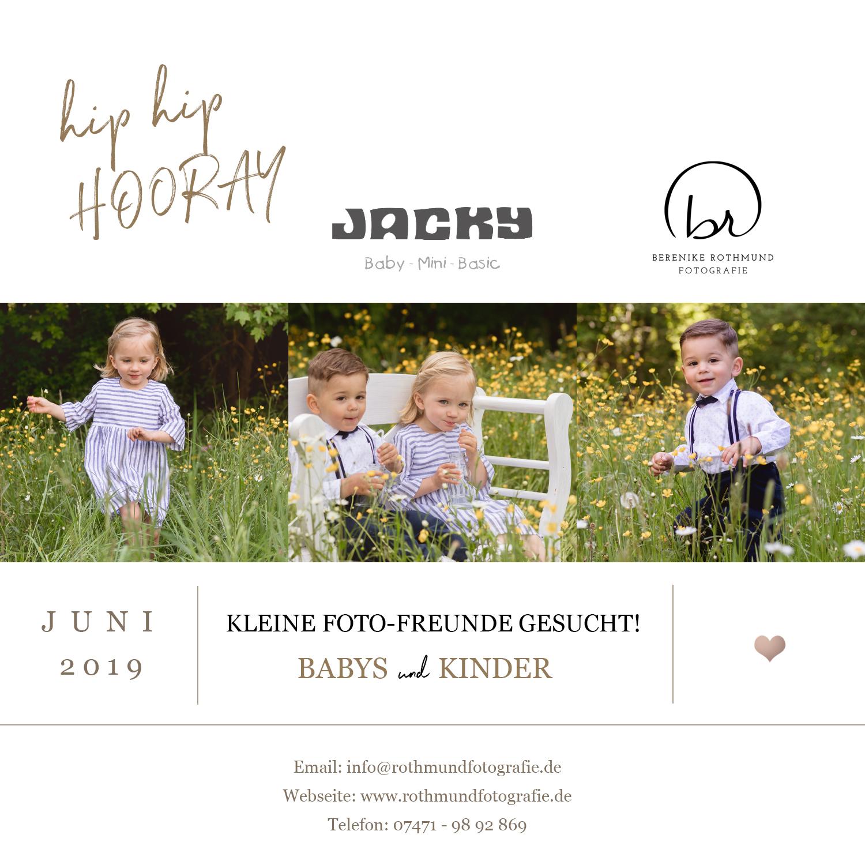 In Tübingen findet bald wieder das Fotoshooting für JACKY Baby- und Kindermoden statt. Das Modelabel lässt süße Baby und Kindermode entstehen,- gemütlich, hochwertig, bunt, wie die Kinderwelt. Aktuell suchen wir Babymodells und auch Kindermodells. Bewerbungen dürfen gesendet werden.
